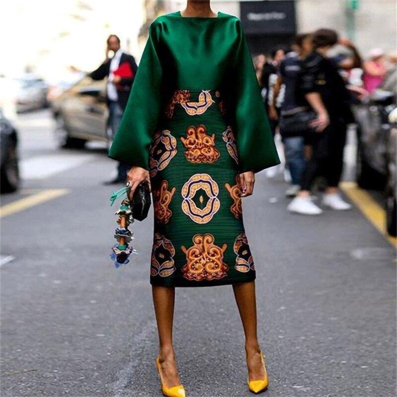 Vestido de cetim de impressão floral plus size elegante vestido verde festa feminina 2019 outono do vintage escritório laides sexy bodycon vestido