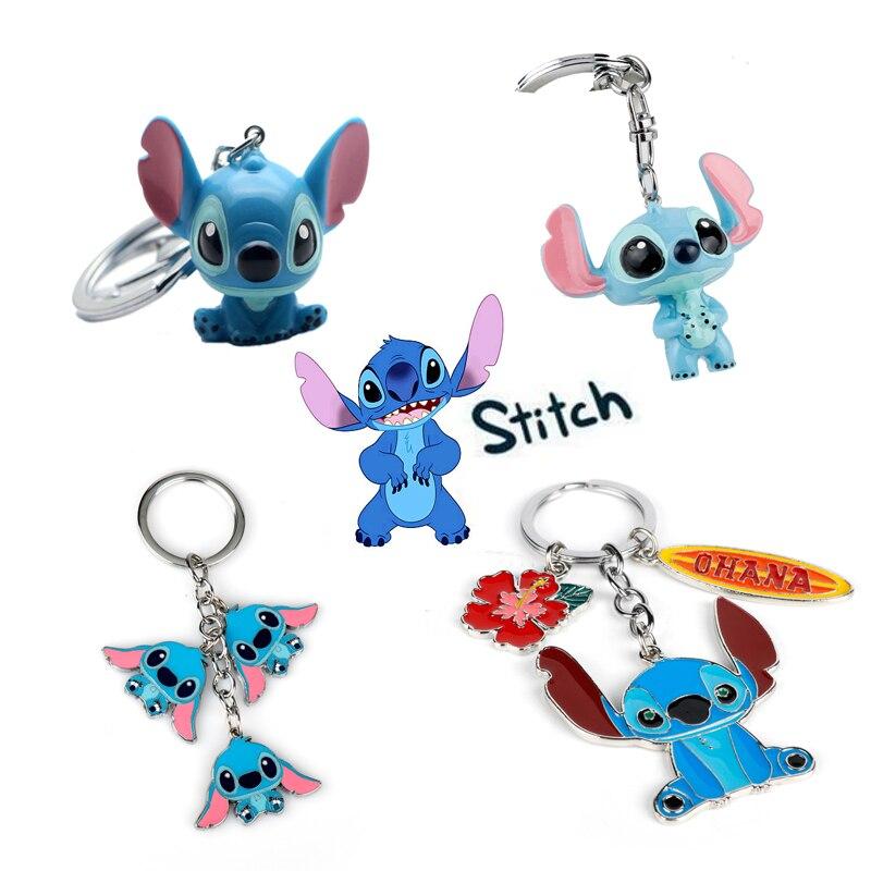 Dropshipping Cartoon Ohana Friendship Lilo Stitch Keychain Toy Dolls Gifts Kawaii Family Bags Key Keyrings Chaveiros