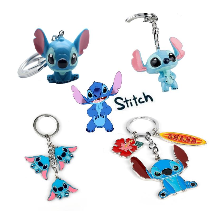 Dropshipping dibujos animados de Amistad de Ohana Lilo Stitch llavero muñecas de juguete regalos Kawaii bolsas familiares llaveros Chaveiros