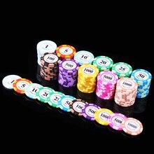 Jetons de Poker En Métal 20 pièces Jetons de Poker 14g de Fer + Argile Pièce Poker garde Valeur Casino Puce Texas Holdem Puce de Jeu de Casino