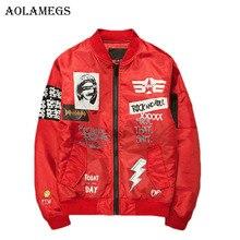 Aolamegs Jacke Männer Print Plus Größe Stehen Kragen Bomber Jacke Mode Lässig Outwear Mantel der Männer Bombe Baseball Jacken Marke neue