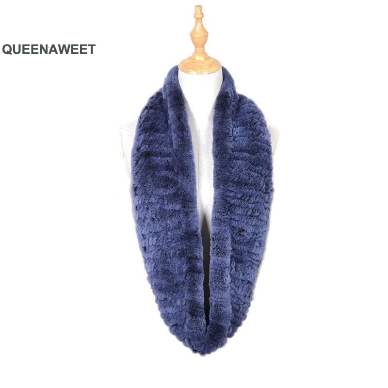 Bufanda de piel de conejo Rex 031 2019 para mujer, piel de punto, cuello grande, bufanda de pelo Real, bufanda, bufanda, anillo de Cuello de piel de invierno para mujer