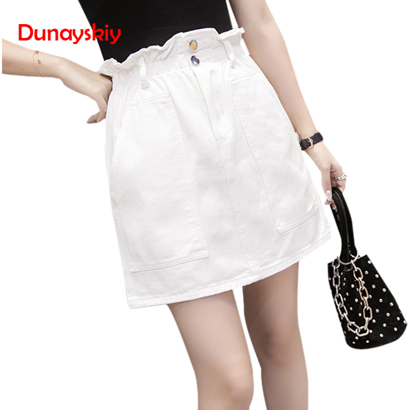 Large Size Ruffles Elastic-Waist Denim Skirt Solid Color Mini Saia Sexy Short A-Line Skirts Feminino Kawaii Jupe Femme