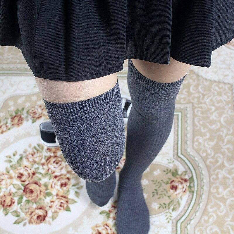 Mode 2019 Strümpfe der Frauen Über Das Knie Socken Baumwolle Solide Dick Silk Beeilen Glücklich WomenThigh Hohe Socken Weibliche Plus größe