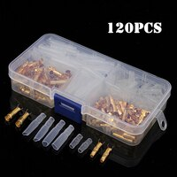 120Pcs Brass Bullet 3.5mm Wire Connectors Male & Female Crimping Terminals Set with Insulated Cover Gold / Transparent Kit