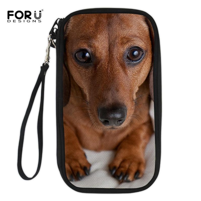 FORUDESIGNS/такса Женская сумочка Длинный кошелек милая собака печати держатель для