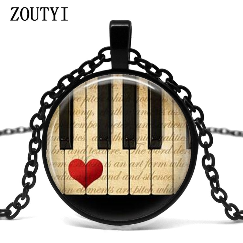 2018/klavier herz anhänger halskette halskette, klavier zubehör musik lehrer geschenke, musik geschenke, klavier geschenke.