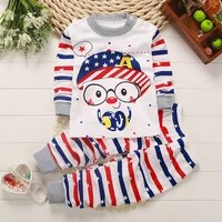 hot sale child cotton underwear suit baby autumn clothes baby clothes for girls and boys neck shoulder buckle pajamas