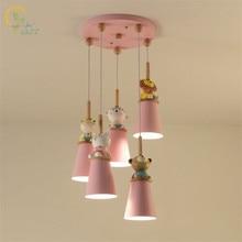Moderne Cartoon Animal pendentif lumières mignon rose suspension lampe pour chambre denfants princesse filles bébé chambre luminaires décor