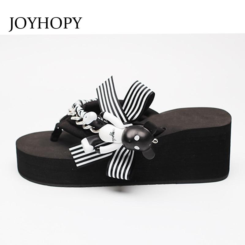 JOYHOPY Summer Cute Bear Flip Flops Korean Style Students Thick Soled Slippers Women Beach Platform Sandals Wedges Shoes AWS058