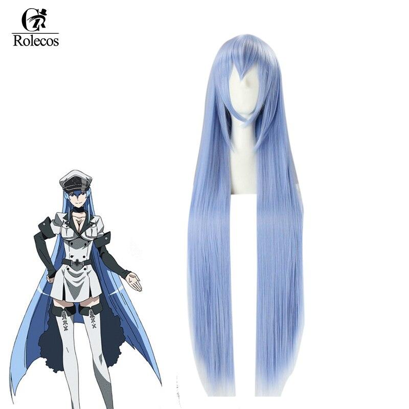 ROLECOS Akame ga KILL Anime Cosplay Hair ، شعر اصطناعي طويل أزرق 100 سنتيمتر ، غطاء رأس Esdeath Cosplay Cosplay