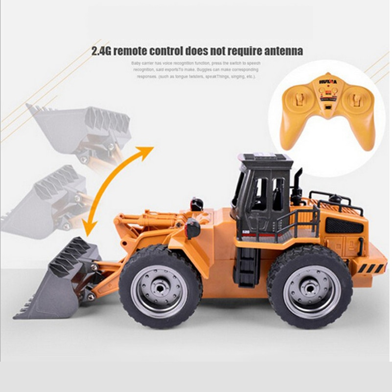 2.4G 6 CH Alloy RC Bulldozer Truck Cars with Light Remote Control Truck Model Bulldozer RC Truck Toys Car for Children Gifts enlarge
