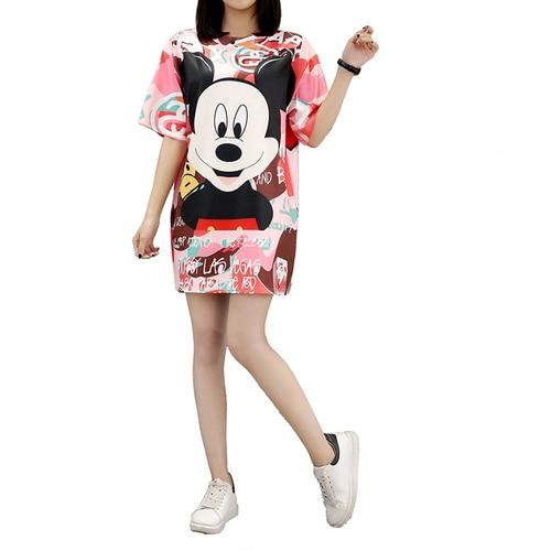 2019 vestido de verano para mujer manga corta estampado de dibujos animados talla grande 5xl cuello redondo Kawai Casual vestido musulmán Femme Mini vestidos vestidos