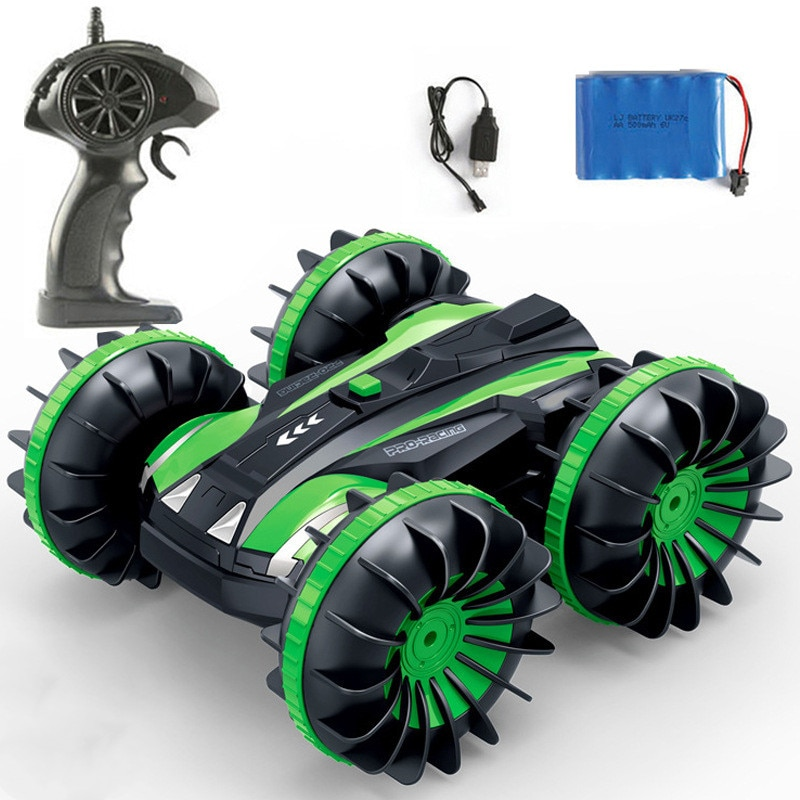 newest 2.4G 4WD remote control rc car toy water-land amphibious car toy red blue green color choose 360 degree rotating kid gift enlarge