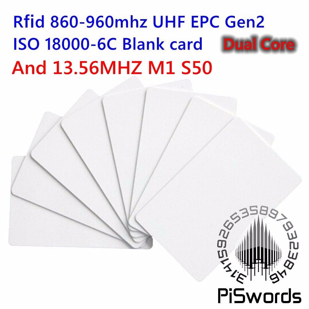 10 pçs/lote ISO18000-6CEPC Class1 Gen2 iso 18000-6c UHF 860 ~ 960 mhz Cartão RFID UHF E 13.56 mhz 14443 Inteligente cartão