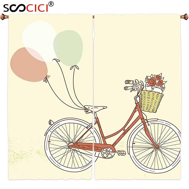 Cortinas de ventana tratamientos 2 paneles, bicicleta Retro Vintage romántica con globos cesta con Arte de flores rosa azul y huevo