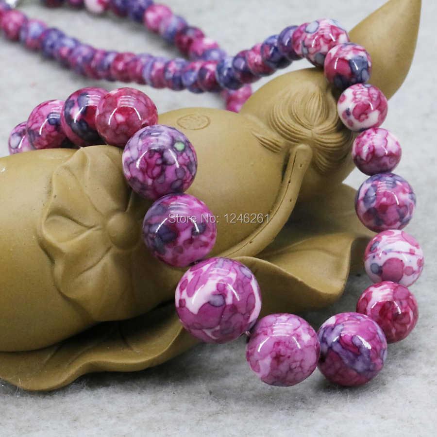 Collar de torre de Calcedonia Rosa caliente, piedra semipreciosa, flor de lluvia, arcoíris, 6-14mm, manualidades fabricación de joyas 15 pulgadas