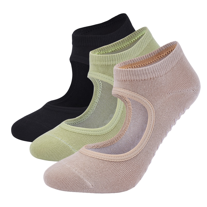Women High Quality Pilates Socks Anti-Slip Breathable Backless Yoga Socks Ankle Ladies Ballet Dance Sports Socks for Fitness Gym