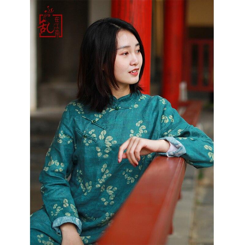 LZJN Long Sleeve  Chinese Dress 2020 Spring Women Long Tunic Dresses Vintage Cheongsam Ethnic Qipao Linen Robe Femme 7685