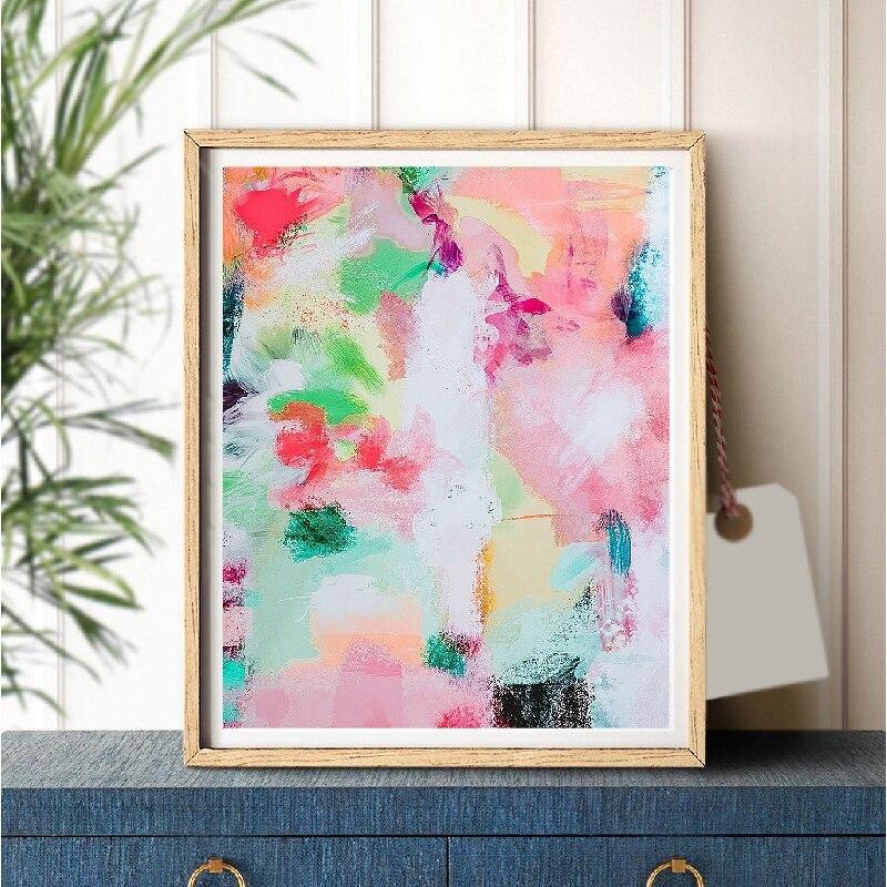 추상 회화 벽 아트 장식 다채로운 현대 포스터 및 인쇄 brushstroke 아트 핑크 그림 거실 홈 장식