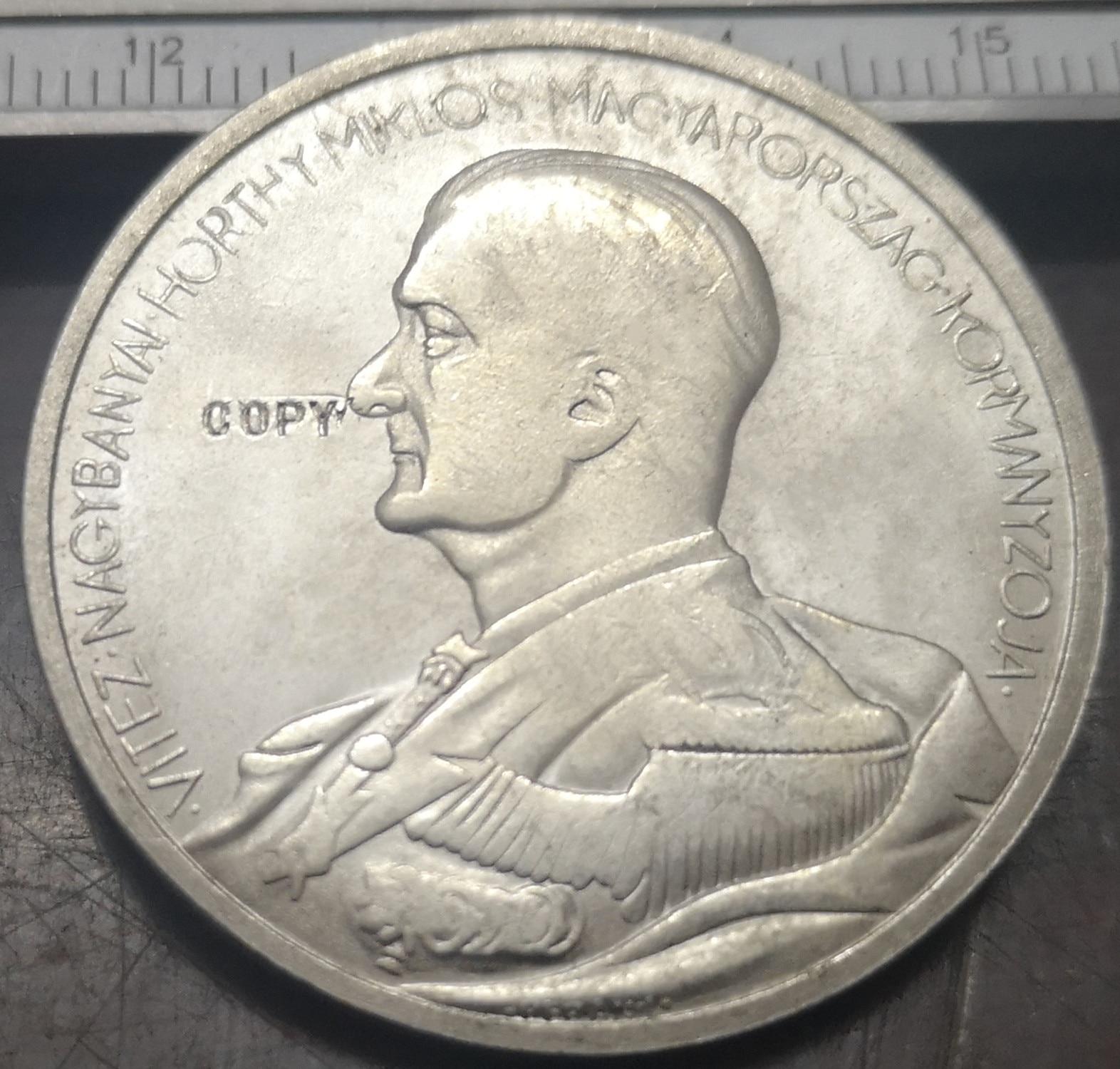 Moneda chapada en plata para cumpleaños, 5 peng-miklos Horthy, 1938