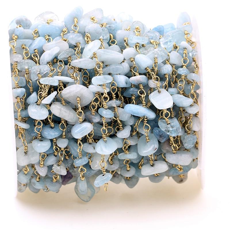 HanKun Beatuiful Natuurlijke Lichtblauw ColorNugget Chip Kralen Rozenkrans Ketting Met Messing draad gewikkeld Rozenkrans