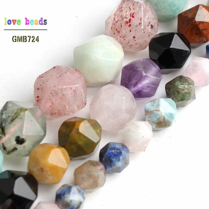 Faceteadas naturales mixtas lapislázuli morganita aguamarinas cuentas redondas de piedra para la fabricación de joyas pulsera 6/8/10mm 15 hilo