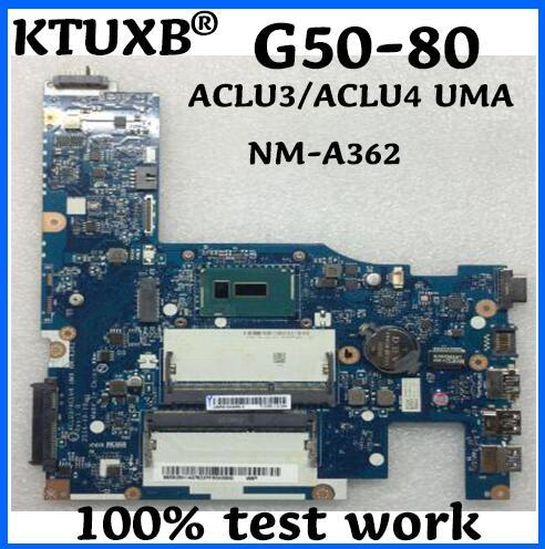 KTUXB ACLU3/ACLU4 UMA NM-A362 motherboard para Lenovo notebook motherboard CPU i3 G50-80 DDR3 100% trabalho de teste