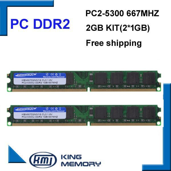 KEMBONA mais barato alta qualidade longdimm desktop ddr2 2g 667 mhz kit (2 pcs ddr2 1 gb) completo compatível com todos os motherboard