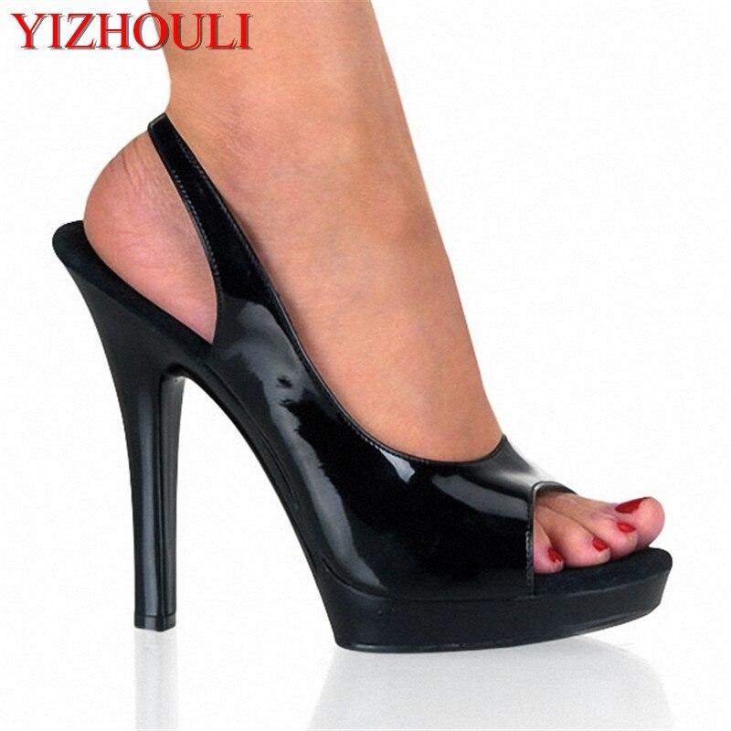 Zapatos súper altos de 13cm para el escenario, adecuados para dedos de Boca de pescado femeninos, sandalias de gladiador de pescador de 5 pulgadas