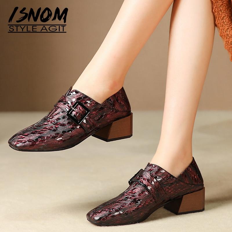 ISNOM zapatos de tacón de cuero de vaca para mujer, tacones de madera, tacones de salón, zapatos de mujer con hebilla, zapatos de mujer con punta cuadrada, zapatos de mujer para otoño 2019
