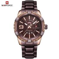 NAVIFORCE Luxury Brand Men's Sport Watch Coffee Full Steel Quartz Watches Men Date Waterproof Military Clock Relogio Masculino
