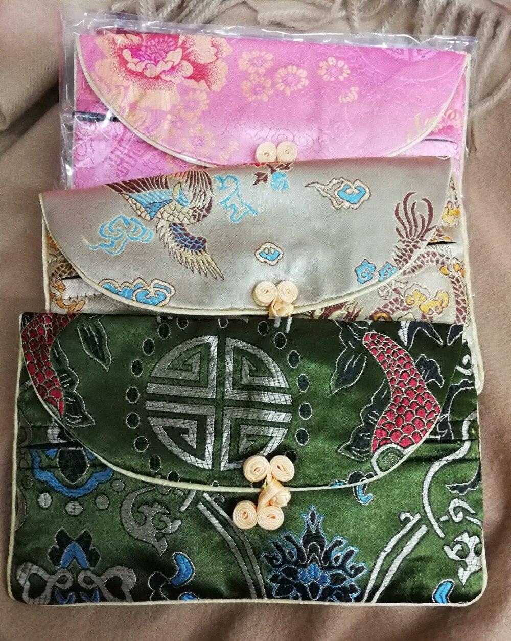 """3 unids/lote mezcla colores joyas bolsas cartera chino hecho a mano Botón de seda moneda bolsa moneda monedero collar bolsos color aleatorio 8"""""""