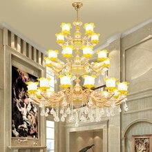Lustre en céramique chinois Villa hôtel lampes en cristal Restaurant européen lustre en cristal Villa complexe bâtiment lumière en cristal
