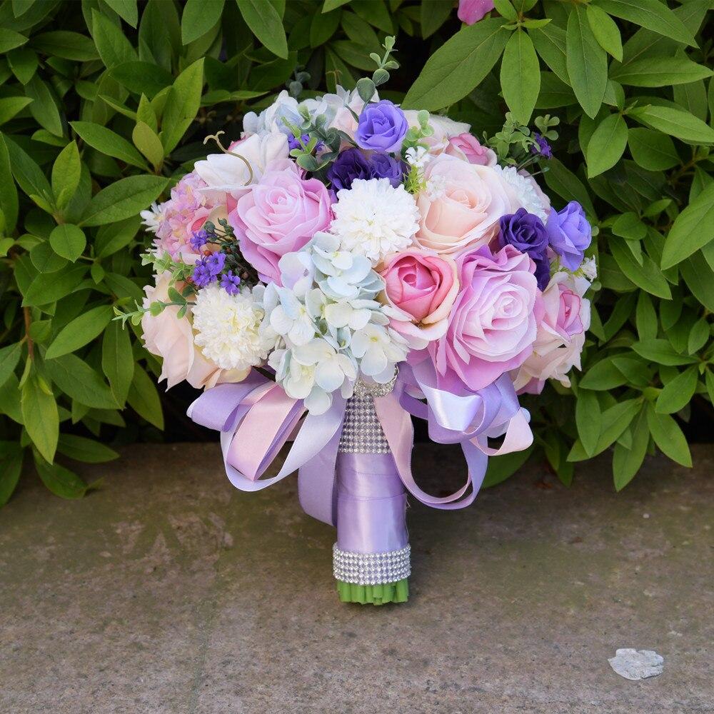 Zuoyiting, flores de casamento de seda jardim buquê flores da dama de honra buquês rosas hydrangea bouquet de noiva de pulso do casamento 7