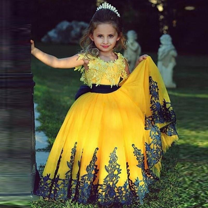فستان أصفر مزين بالورود للبنات ، لحفلات الزفاف ، ثوب الكرة ، الأكمام الطويلة ، التول ، التواصل الأول ، للفتيات الصغيرات