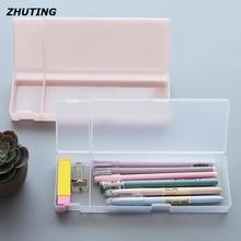Bureau denseignement papeterie multi-boîte fonction transparent mat en plastique crayon stylo boîte à bijoux papeterie