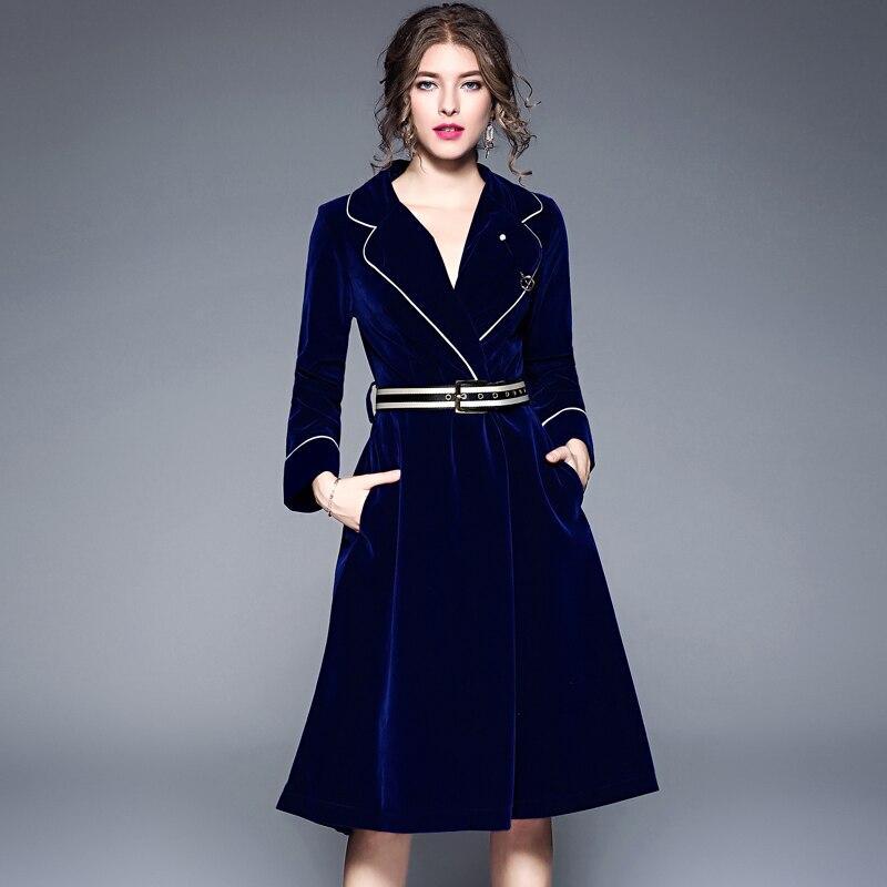 Chaqueta de pasarela de invierno 2020, vestido de terciopelo de lujo para mujer, vestido con muescas para oficina, vestido a media pierna de manga larga con detalle de broche de fajines