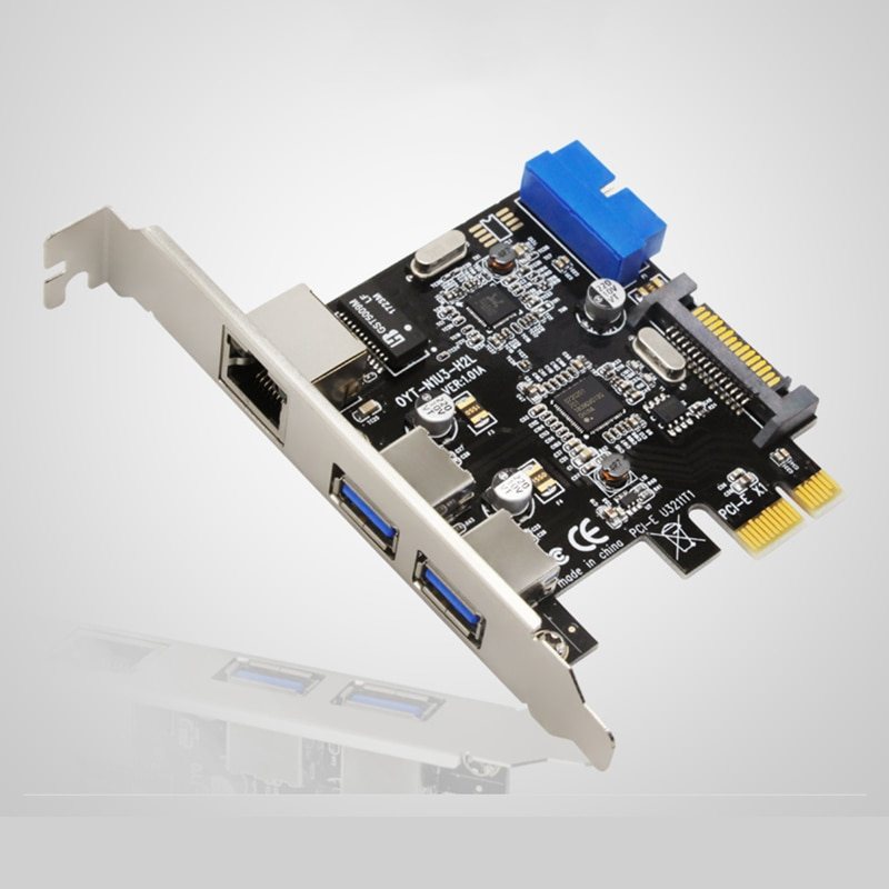 2 puertos PCI Express USB 3,0 + RJ45 Gigabit Ethernet red Panel frontal con adaptador de tarjeta de Control SATA y conector de 20 pines