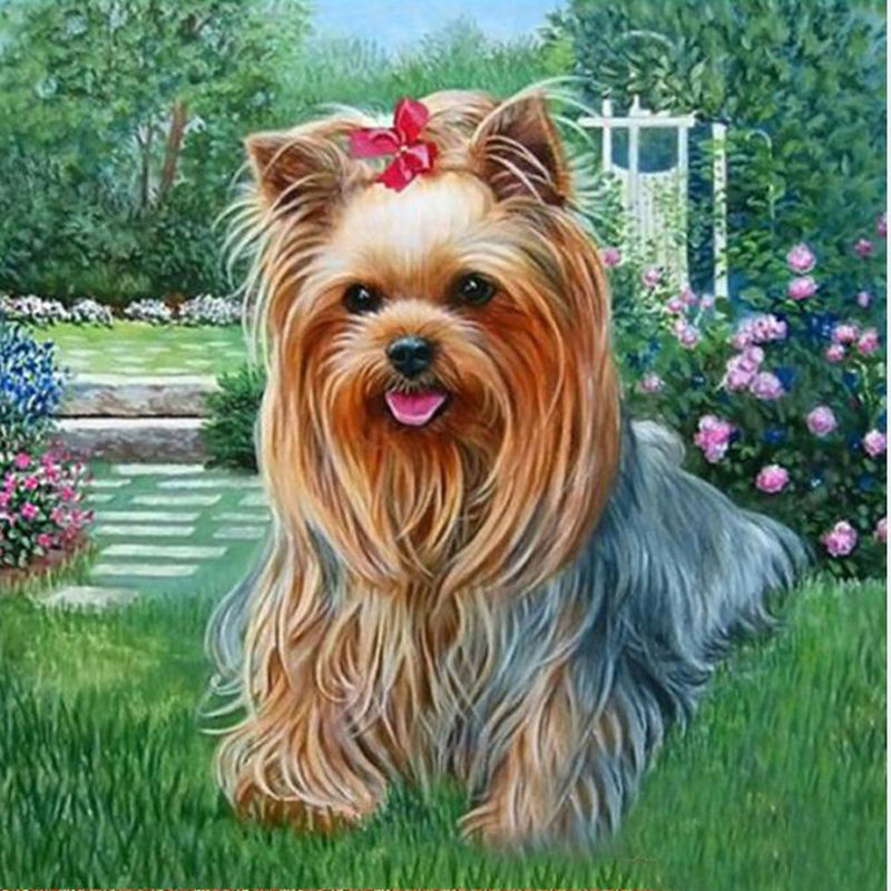 5D Diy diamante pintura punto de cruz artesanía perro artesanía diamante bordado redondo diamante Rubik Animal pinturas imagen