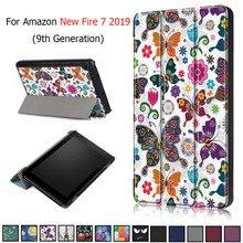 Coque en cuir PU pour tablette, pour Amazon Fire 7 2019 imprimé, coque pour Kindle Fire 7, 9e génération, 2019