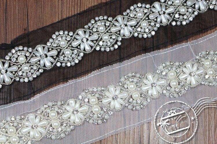 Recorte de encaje con cuentas de diamantes de imitación de flores, cristales...
