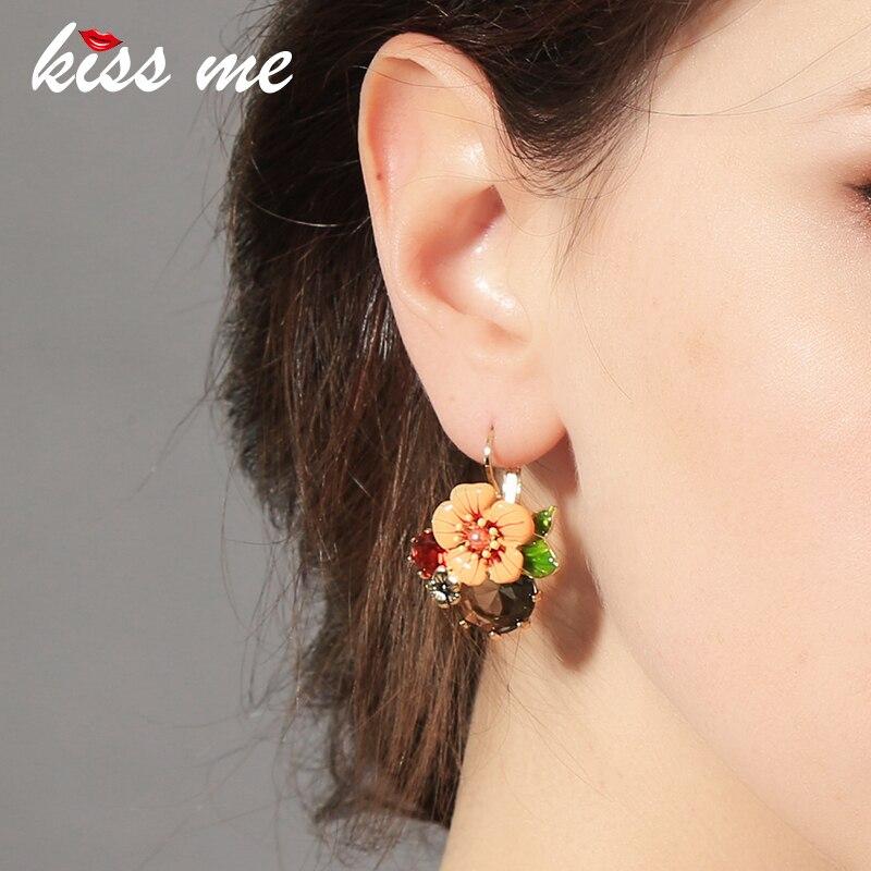 Ms moda grande terno coringa esmalte flores cor foco piercing brincos fábrica atacado brincos de gota para mulher