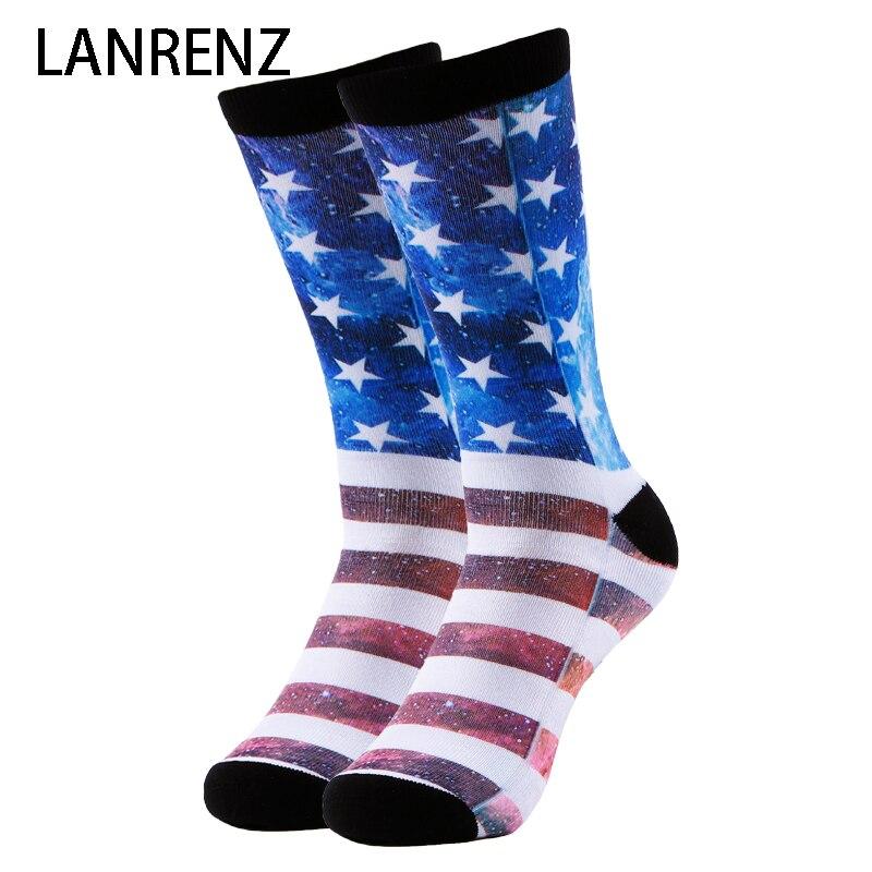 2020 Creative Star bandera estampado hombres y mujeres moda divertidos calcetines 3d impreso calcetines 200 tejer pintura al óleo calcetines de compresión