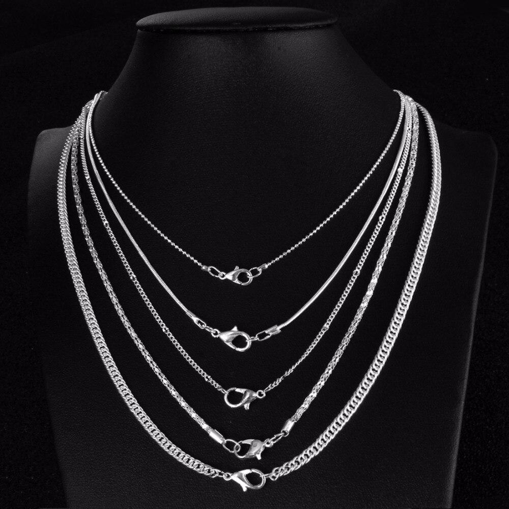 Cadena clásica básica de plata con cierre de langosta, cadena ajustable, joyería de moda, joyería de plata, gargantillas, accesorios de moda