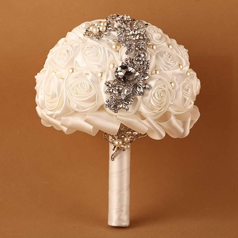 Ramo de novia de alta calidad hecho a mano, novia, flor de Rosa de seda artificial, marfil, negro, azul, accesorios ostentosos para baile de graduación