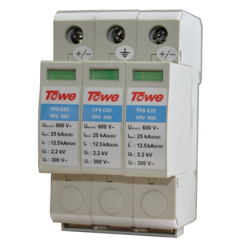 TOWE APC25YPV1000 PV systeme 1000 V DC System Leistungsklasse C schutz 3 modul Imax 25KA Bis 3,2 V Donner Schutz