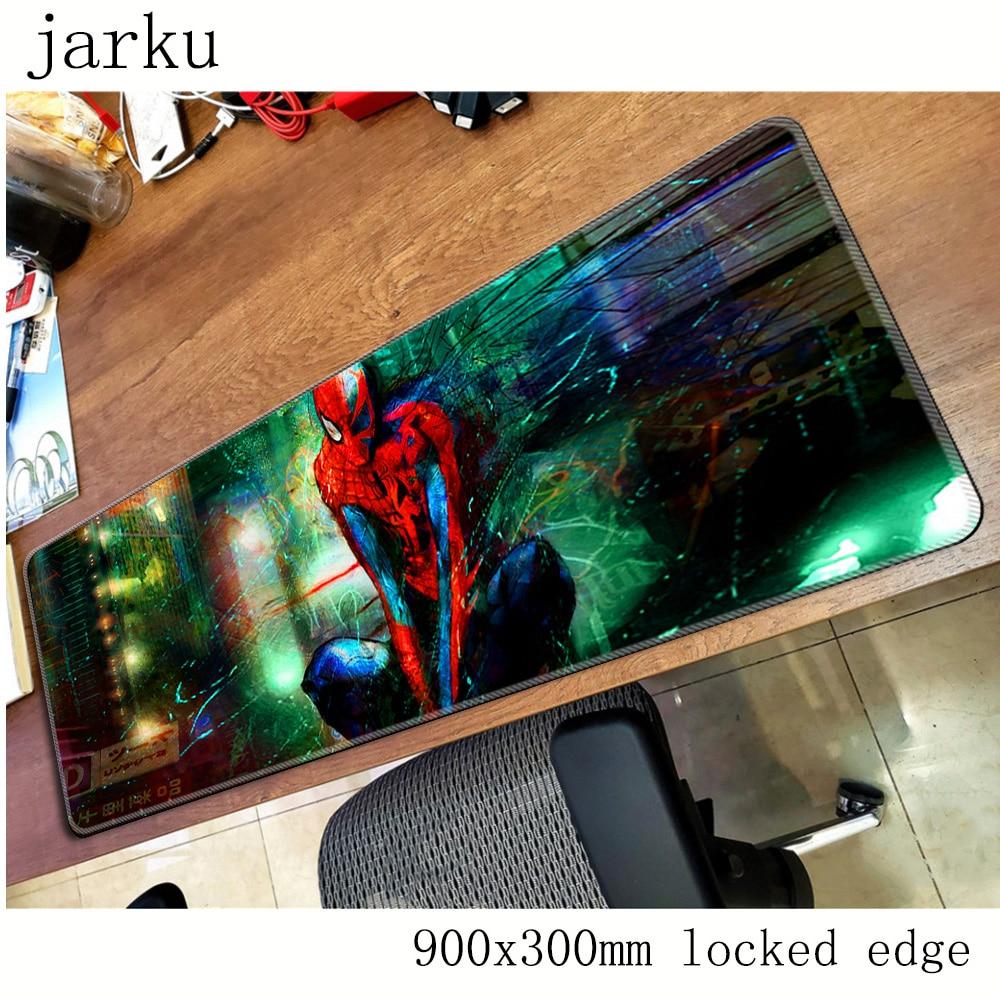 Homem aranha almofada mouse computador gamer mause almofada 900x300x2mm padmouse grande locrkand mousepad ergonômico gadget esteiras de mesa de escritório