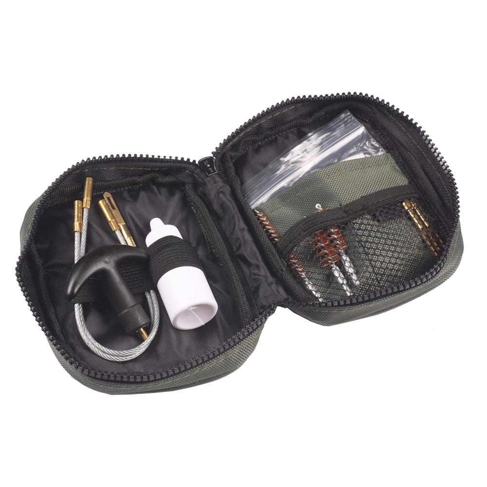 Kit de 1 Juego de pistola de limpieza de pistola, bolsa de nailon, cepillo de varilla, limpieza de pistola Universal para 12ga 20ga .22cal.17cal .223/5.56 Limpieza de Rifle
