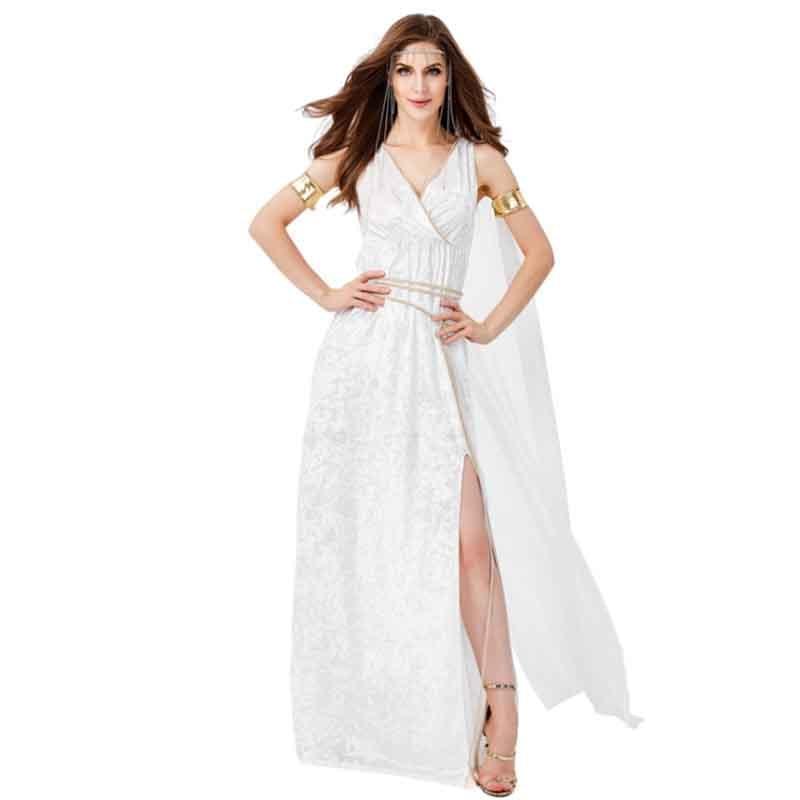 Women Roman Senator Cosplay Costume Fantasia Halloween Greek God Costume For Women White Toga Ancient Roman Costume Plus Size